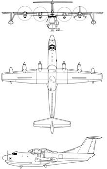 Plan 3 vues du Shin Meiwa PS-1 / US-1