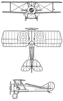 Plan 3 vues du Thomas-Morse S-4 Tommy
