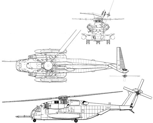 Plan 3 vues du Sikorsky CH-53E Super Stallion