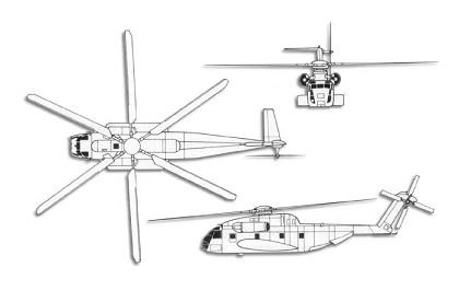 Plan 3 vues du Sikorsky CH-53 Sea Stallion