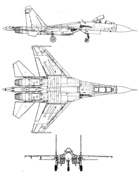 Plan 3 vues du Shenyang J-11 / J-16 'Flanker B+/G+'