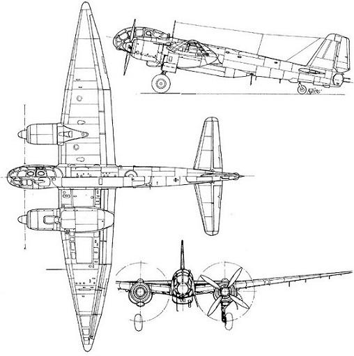 Plan 3 vues du Junkers Ju 388 Störtebeker