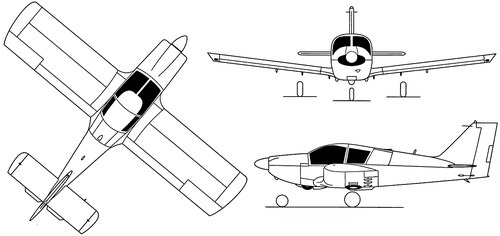Plan 3 vues du Robin HR.100