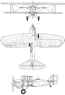 Plan 3 vues du Curtiss O-1 / F8C Falcon