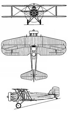 Plan 3 vues du Curtiss O2C Helldiver