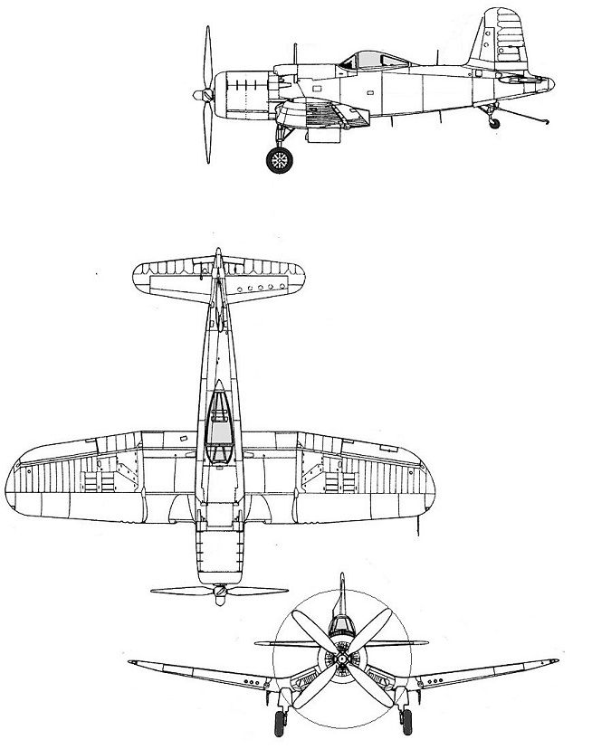 Plan 3 vues du Goodyear F2G Super Corsair