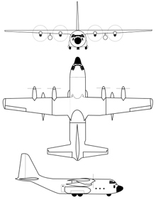 Plan 3 vues du Lockheed-Martin C-130J Super Hercules