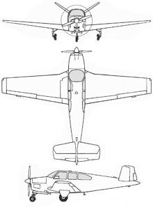 Plan 3 vues du Beechcraft Bonanza