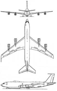 Plan 3 vues du Boeing E-6 Mercury