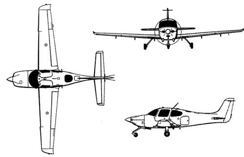 Plan 3 vues du Cirrus T-53