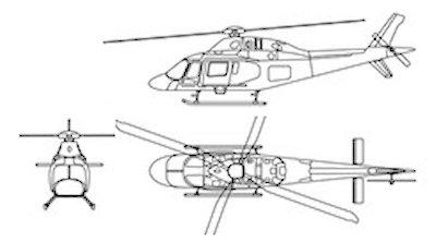 Plan 3 vues du Agusta-Westland AW.119 Koala