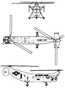 Plan 3 vues du Piasecki HRP Rescuer