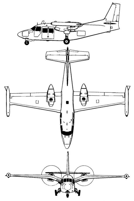 Plan 3 vues du Piaggio P.166