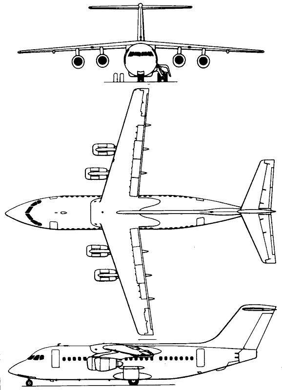 Plan 3 vues du BAe 146