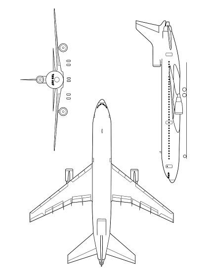 Plan 3 vues du Lockheed L-1011 TriStar