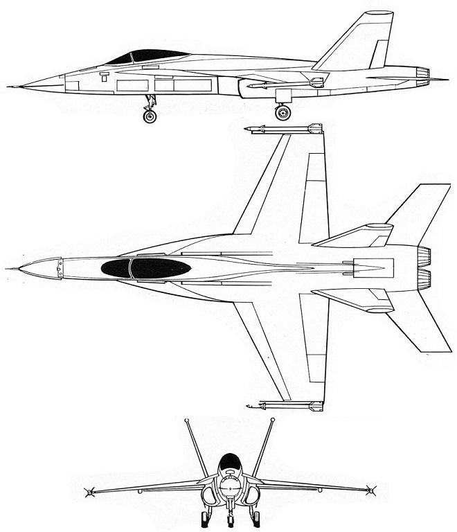 Plan 3 vues du Northrop YF-17 Cobra