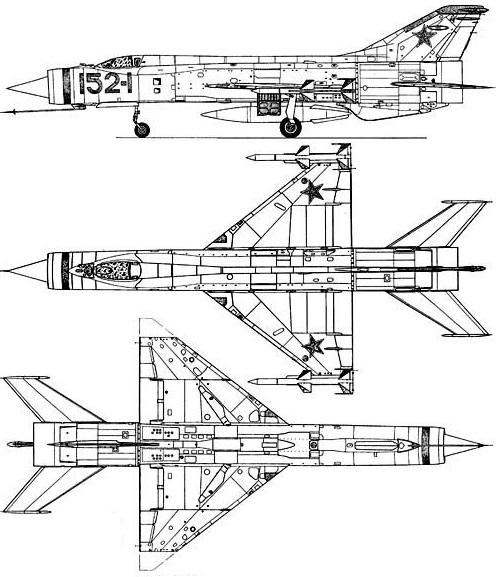 Plan 3 vues du Mikoyan-Gurevitch Ye-152 'Flipper'