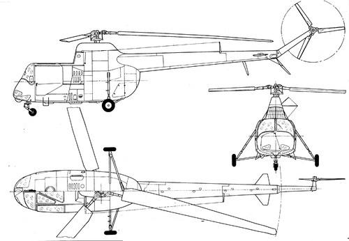 Plan 3 vues du PZL SM-2