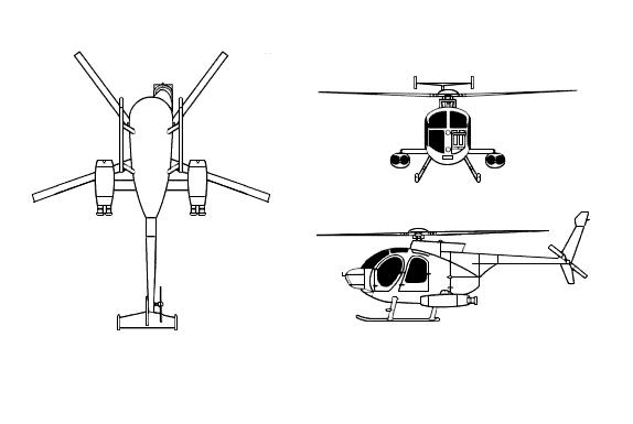 Plan 3 vues du McDonnell-Douglas MD 500 Defender