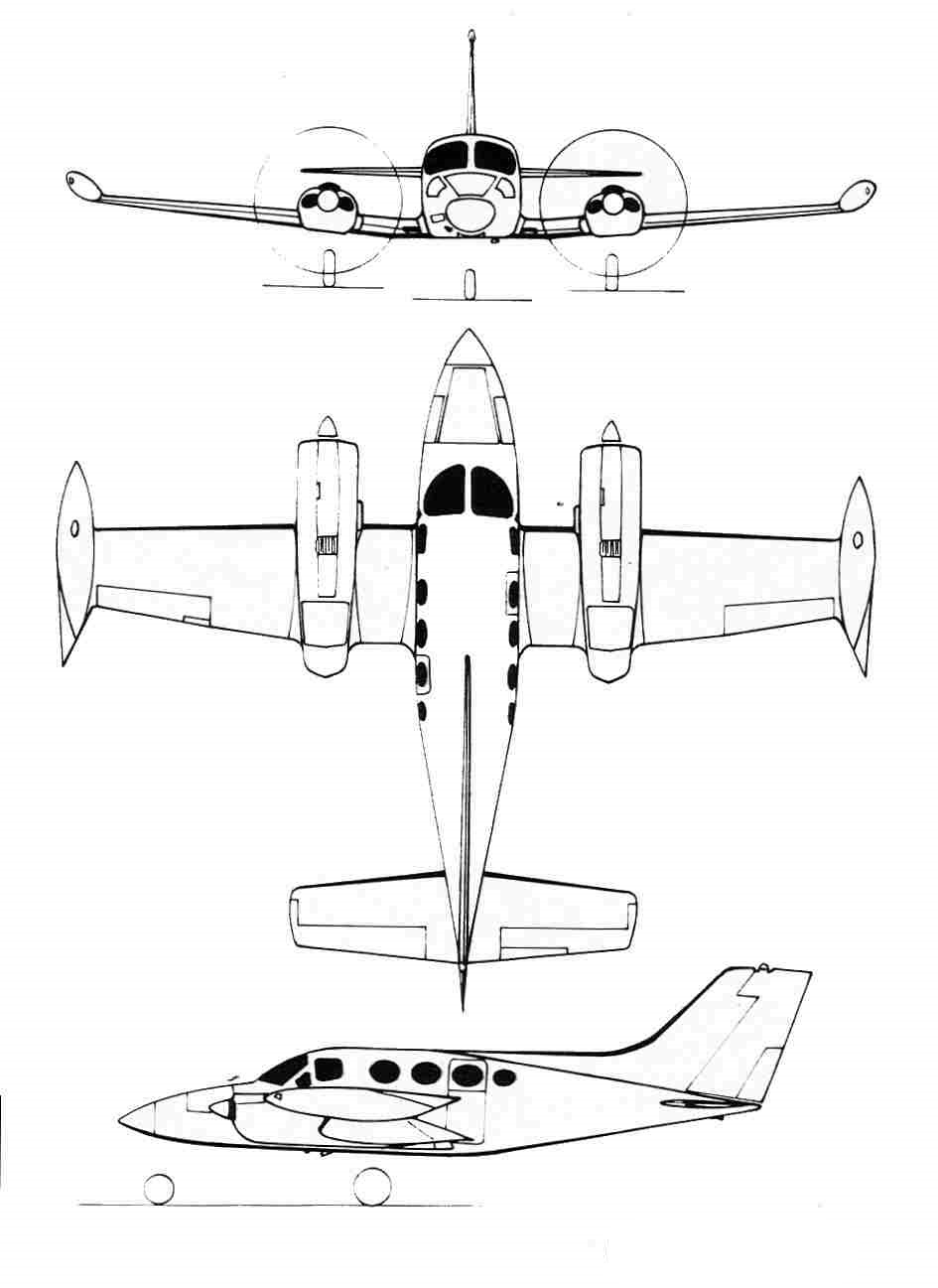 Plan 3 vues du Cessna 401 / 402 / 411 / 421 Golden Eagle