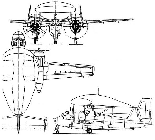 Plan 3 vues du Grumman E-1 Tracer