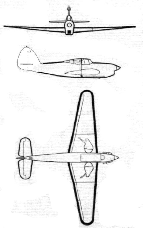 Plan 3 vues du Hawker Henley