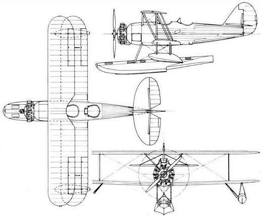 Plan 3 vues du Naval Aircraft Factory N3N Canary