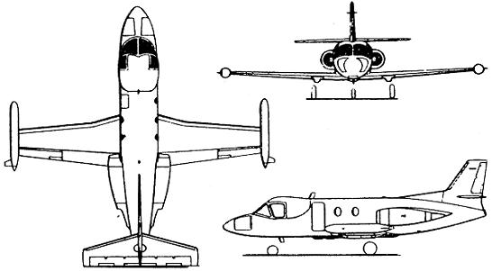 Plan 3 vues du Piaggio PD.808