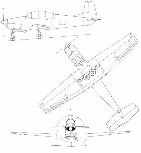 Plan 3 vues du Pilatus P-3