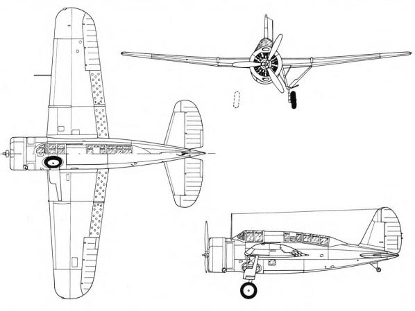 Plan 3 vues du Naval Aircraft Factory SBN