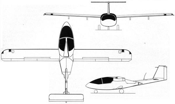 Plan 3 vues du Caproni Vizzola C.22 Ventura