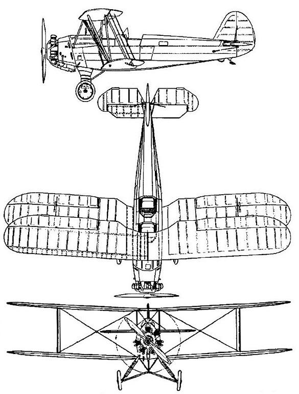 Plan 3 vues du Focke-Wulf Fw 44 Stieglitz