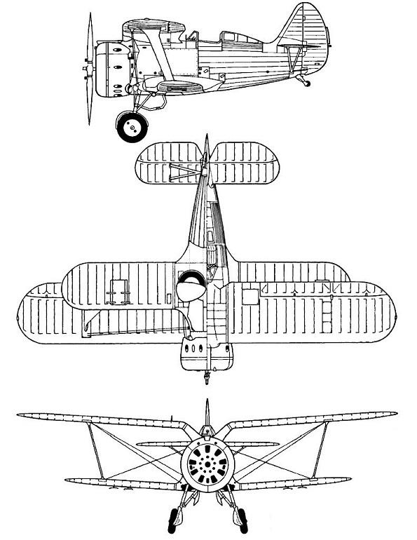 Plan 3 vues du Polikarpov I-153 Tchaïka
