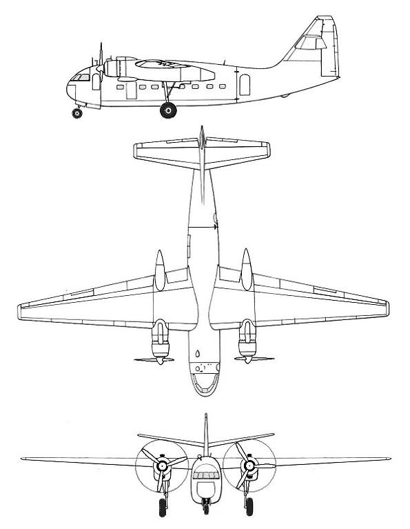 Plan 3 vues du Breguet Br.890 Mercure et Br.891 Mars