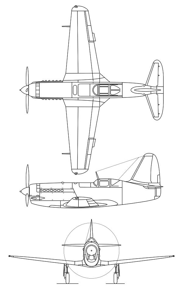 Plan 3 vues du Mikoyan-Gurevitch MiG-13