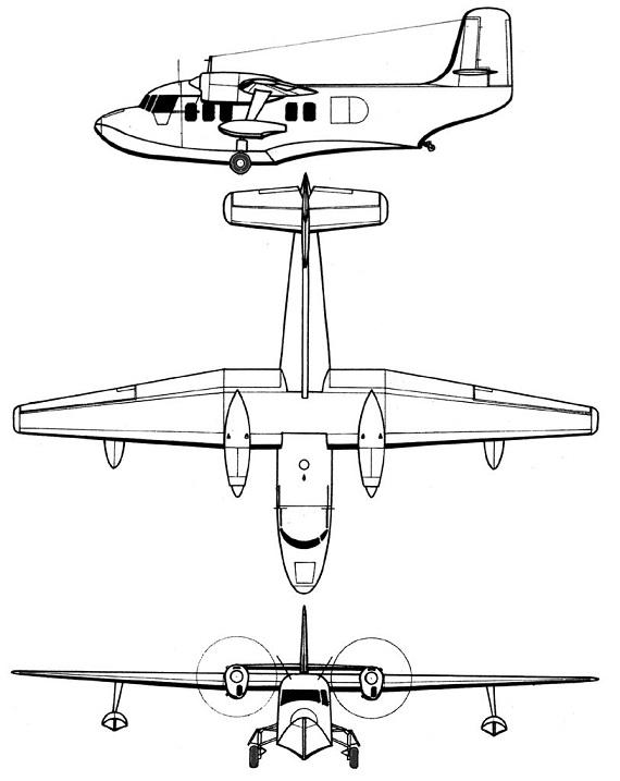 Plan 3 vues du Short SA.6 Sealand