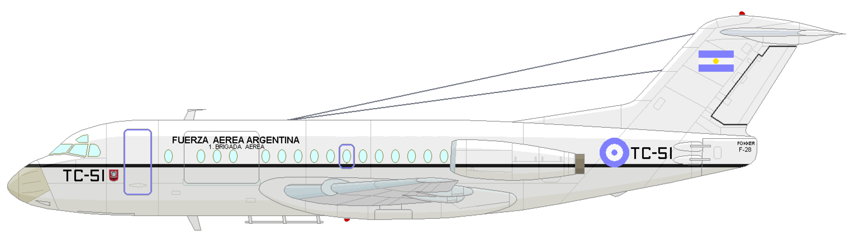 Profil couleur du Fokker F28 Fellowship