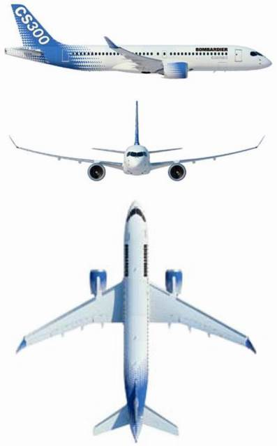 Plan 3 vues du Bombardier CSeries / Airbus A220