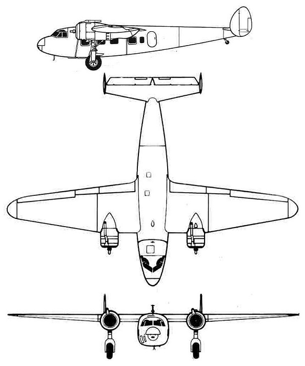 Plan 3 vues du De Havilland D.H.95 Flamingo