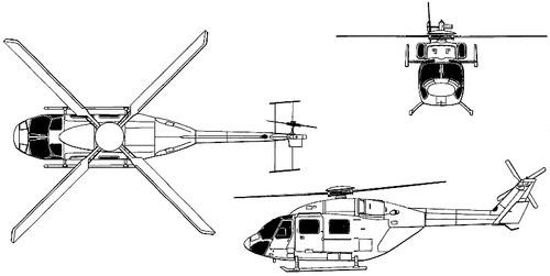 Plan 3 vues du HAL Dhruv