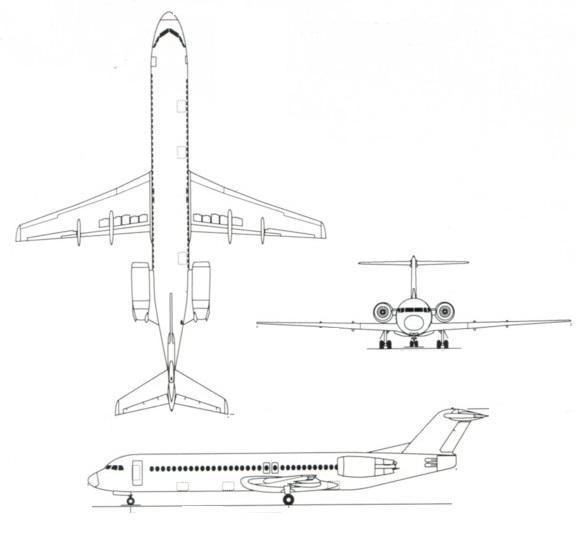 Plan 3 vues du Fokker F70 / F100