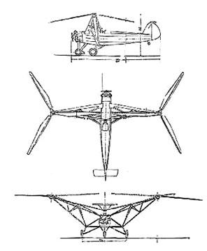 Plan 3 vues du Focke-Wulf Fw 61