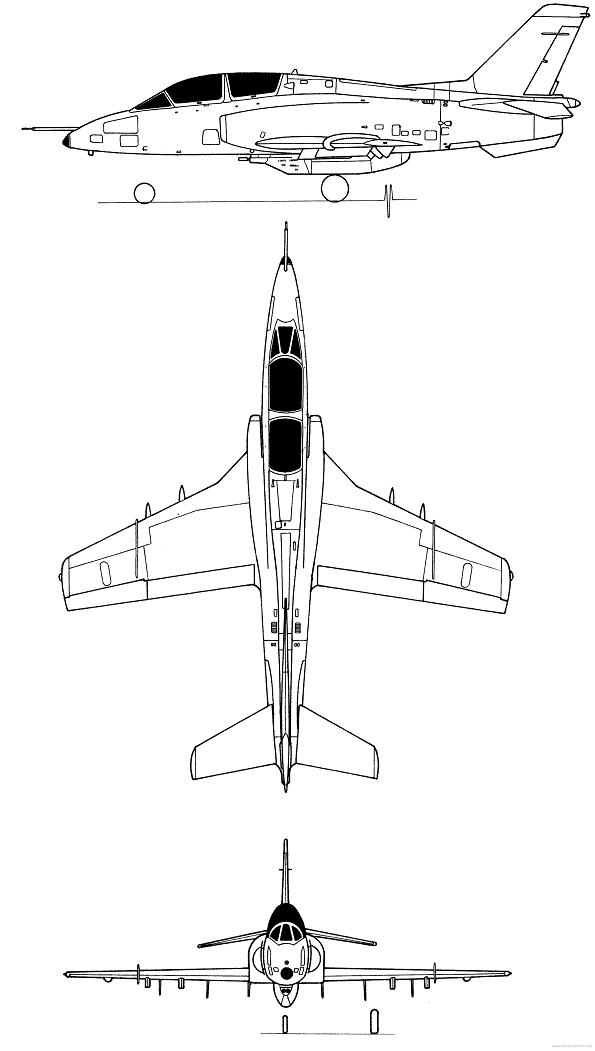 Plan 3 vues du Soko G-4 Super Galeb