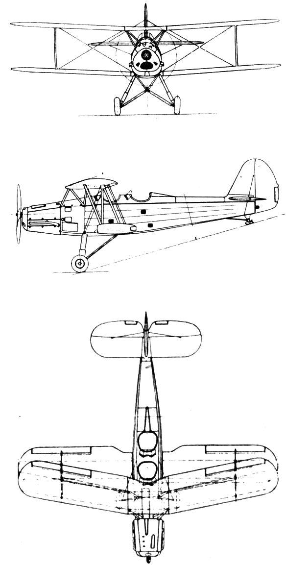 Plan 3 vues du Gotha Go 145