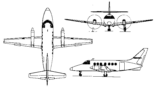 Plan 3 vues du BAe Jetstream