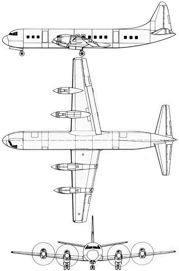 Plan 3 vues du Lockheed L-188 Electra