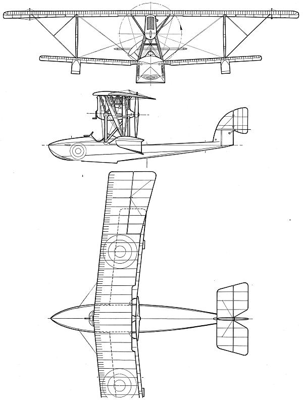 Plan 3 vues du Macchi M.5