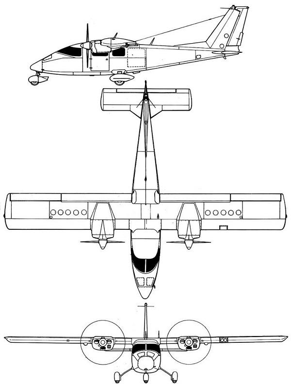 Plan 3 vues du Partenavia P.68 Victor