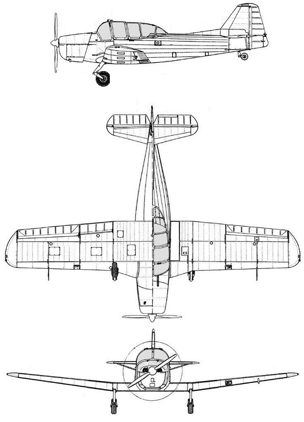 Plan 3 vues du Fokker S-11 Instructor