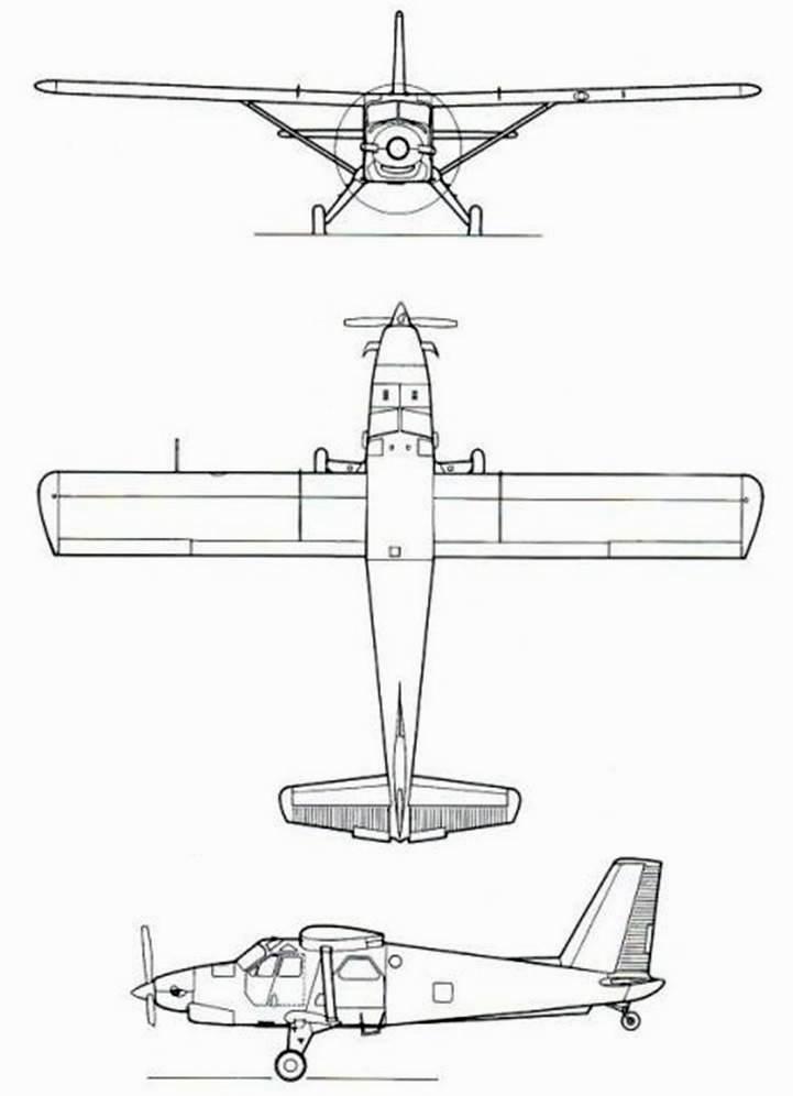 Plan 3 vues du Viking Turbo Beaver